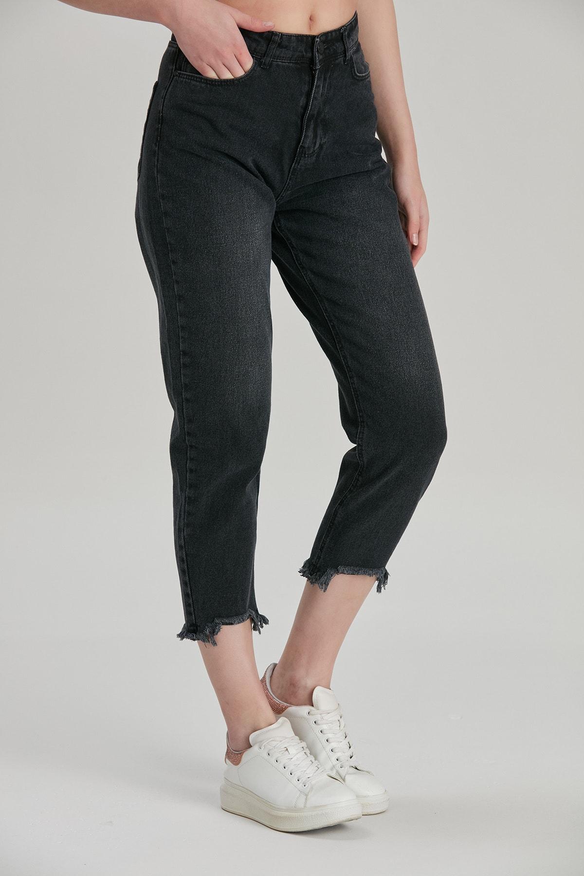 Modaca Kadın Siyah Mom Style Paça Püskül Detay Jean 2