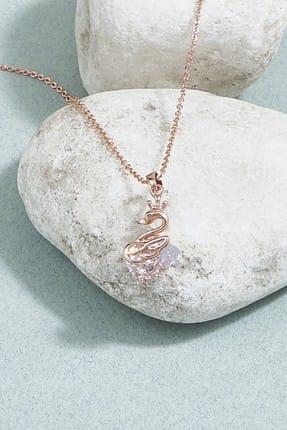ZİNDİ Kadın Flamingo Detaylı Taşlı Zincir Kolye Rose K-3051016-067