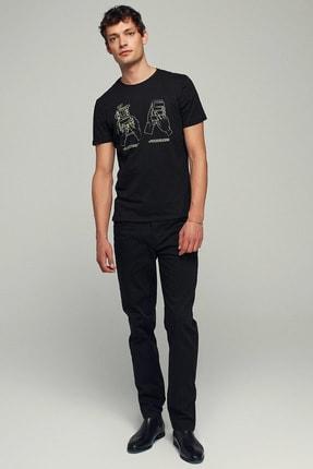Mudo Erkek Siyah Bisiklet Yaka Baskılı Pamuk T-Shirt 371575