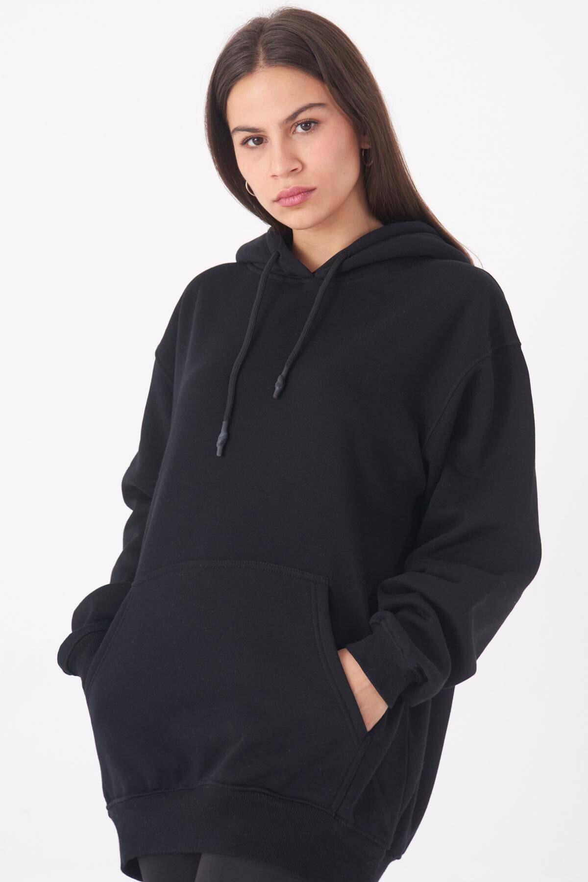 Addax Kadın Siyah Kapüşonlu Oversize Sweat S0925 - N4 - P3 ADX-0000022256 2