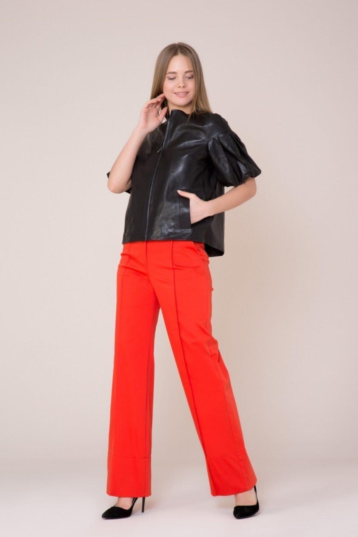 GIZIA CASUAL Kadın Turuncu Bol Paça Mercan Rengi Pantolon 2