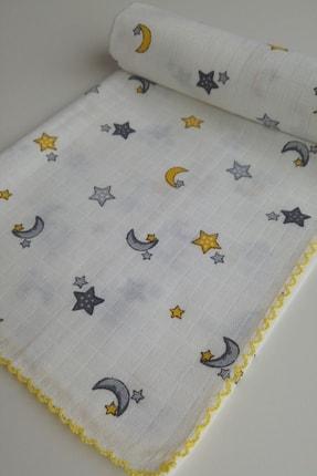 AyCaTa Çok Amaçlı Müslin Bezi Örtü Bebek Battaniyesi Ay Yıldızlı Beyaz 80x90 cm 1 Adet