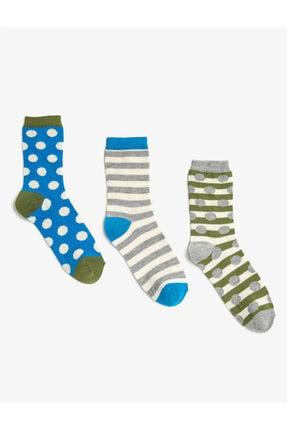 Koton Kadın Mavi Çizgili Puantiyeli Pamuklu Çorap Seti 3'lü
