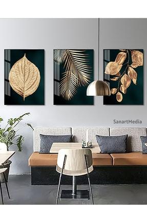 Sanat fotoğraf 3'lü Soyut Altın Yaprak Çerçeveli Ve Camlı Tablo Seti Poster Duvar Dekoru Modern Oturma Odası