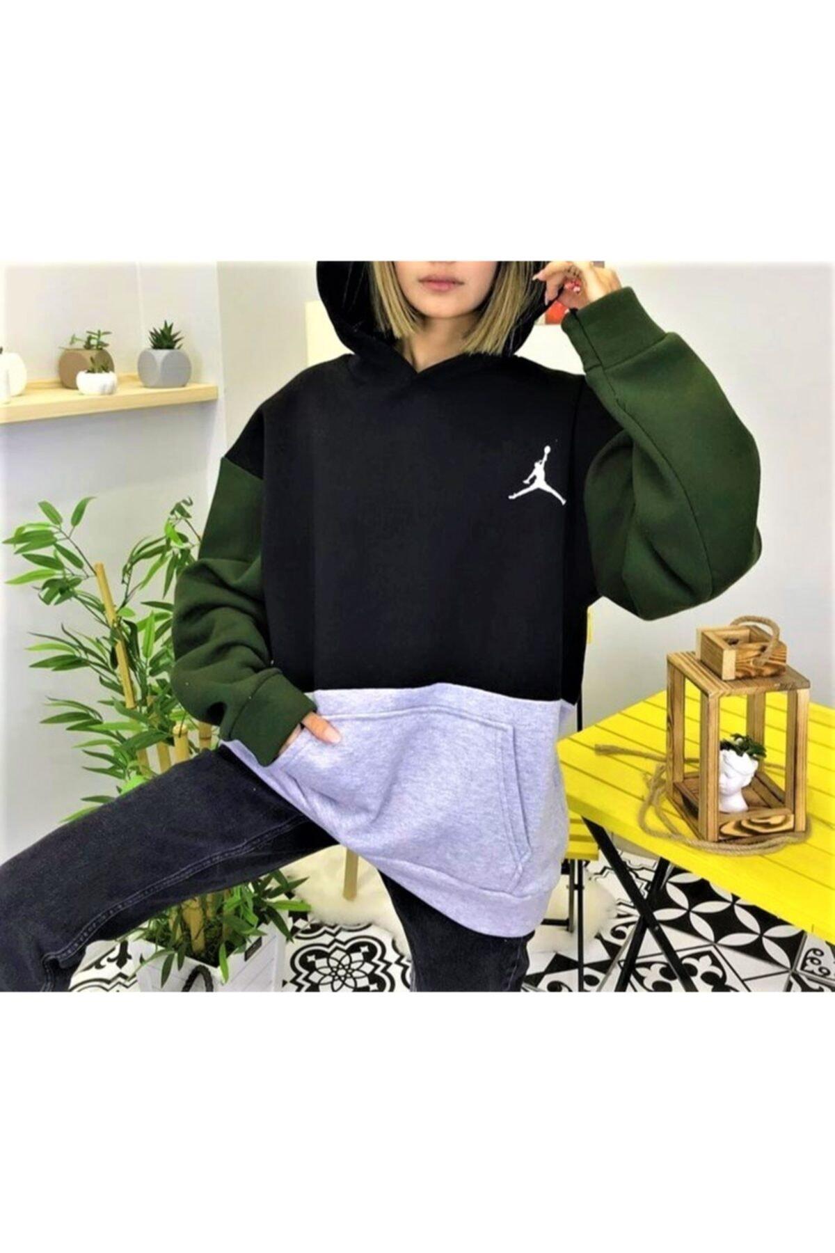 cagko Baskı Detaylı Kapüşonlu Oversize Sweatshirt 1
