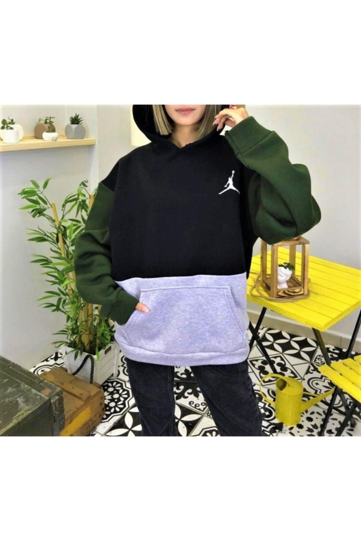 cagko Baskı Detaylı Kapüşonlu Oversize Sweatshirt 2