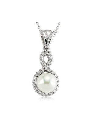 Gumush Kadın Beyaz Gümüş İncili Sonsuzluk Kolye SET101147P
