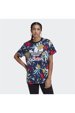 adidas Kadın Lacivert Baskılı Tişört