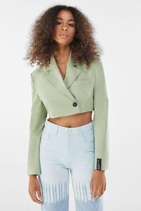 Bershka Kadın Haki Crop Blazer
