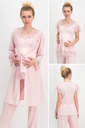 Arnetta Beautiful Momy Pudra Kadın Lohusa Hamile Pijama Takımı, Sabahlık 3 Lü Takım