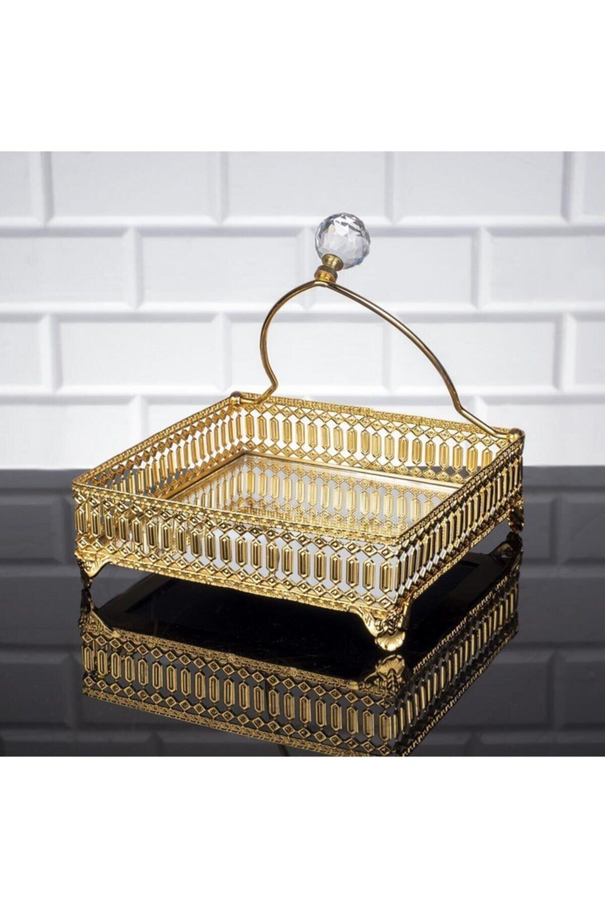 Oyks Inci Kare Peçetelik Gold Renk Peçete Uçurtmaz 1