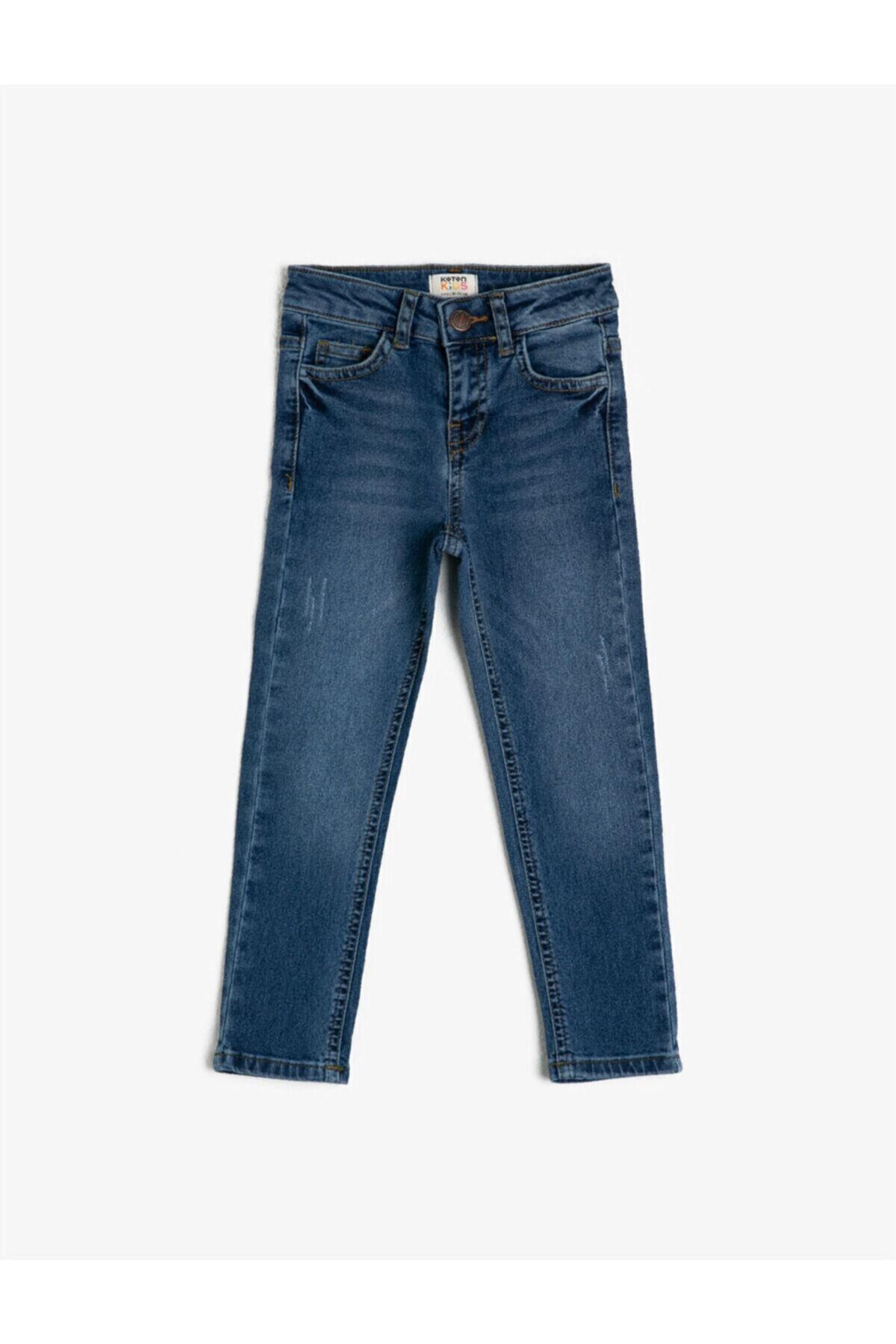 Koton Erkek Çocuk Mavi Cepli Jean Pantolon 1