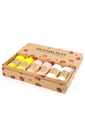 Moodligo Premium 6'lı Bambu Patik Kadın Çorap - 2 Sarı 2 Pembe 2 Beyaz