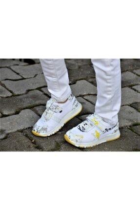 Shoemix Beyaz Sarı Unisex Çocuk Spor Ayakkabı