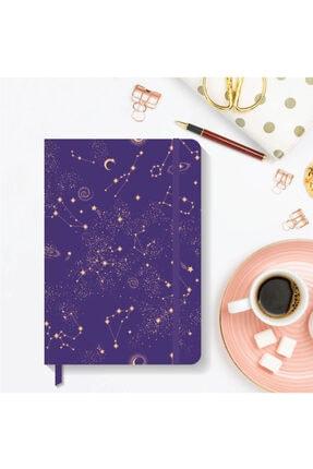 AKILLICA Notebook Lastikli Çizgili Sert Kapak Defter 13x21 Cm Hardcover Notebook Purple
