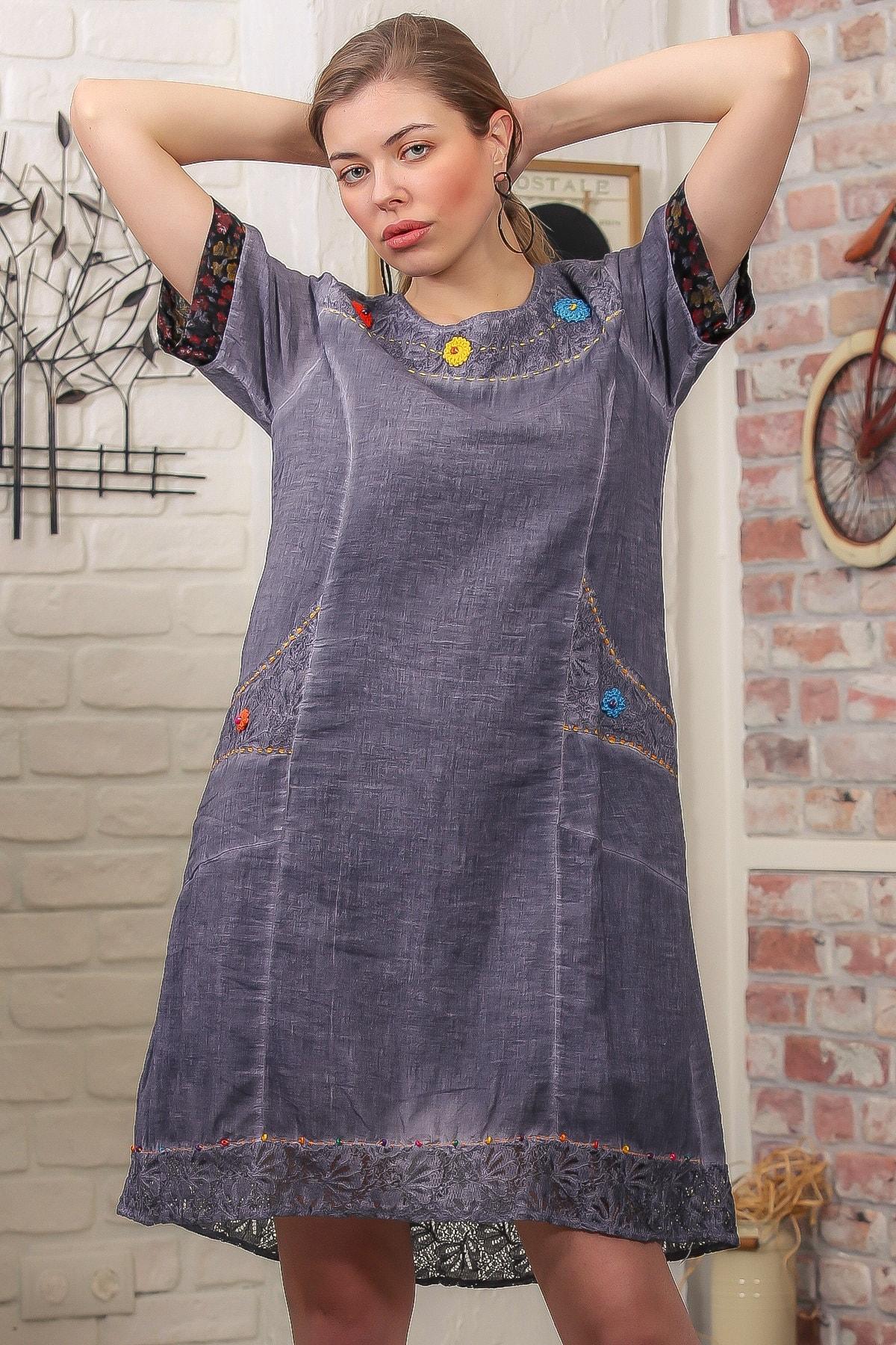 Chiccy Kadın Füme Robası Dantel El İşi Çiçek Detay Cepli Astarlı Yıkamalı Dokuma Elbise M10160000EL95870