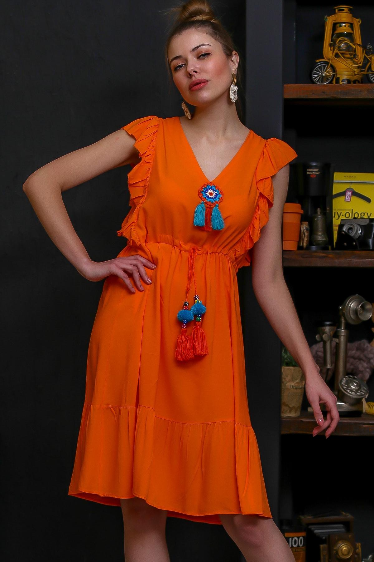 Chiccy Kadın Turuncu Fırfır Detaylı Tığ İşi Örgü Çiçek Detaylı Dev Püsküllü Dokuma Elbise M10160000EL95869