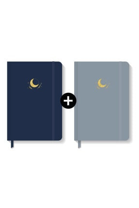 AKILLICA Notebook Lastikli Sert Kapak Noktalı Defter Seti 13x21 Cm Hardcover Notebook Navy Blue+ Grey