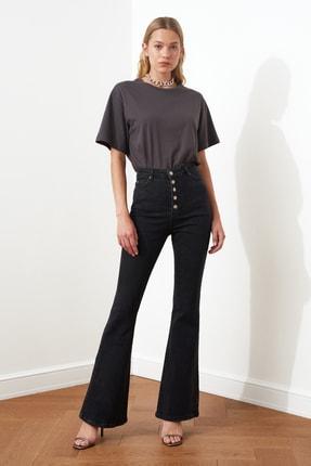 TRENDYOLMİLLA Siyah Önden Düğmeli Yüksek Bel Flare Jeans TWOSS20JE0111