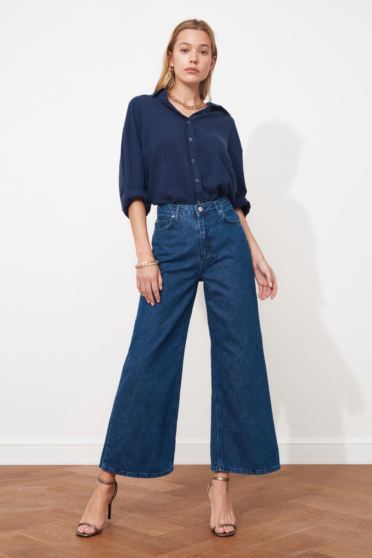 TRENDYOLMİLLA Lacivert Yüksek Bel Culotte Jeans TWOSS20JE0141 1