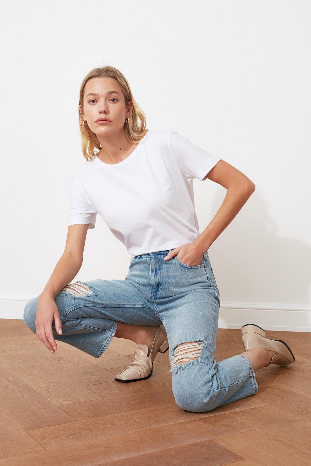TRENDYOLMİLLA Mavi Yırtık Detaylı Yüksek Bel Straight Jeans TWOAW21JE0120 2