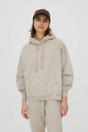 Pull & Bear Basic Uzun Kollu Kapüşonlu Sweatshirt