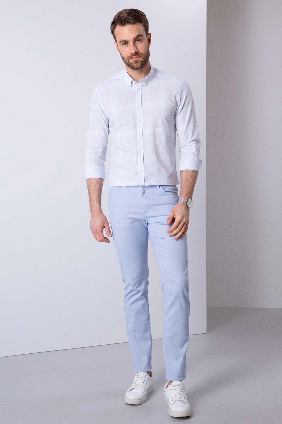 Pierre Cardin Erkek Açık Mavi Slim Fit Chino Pantolon 1