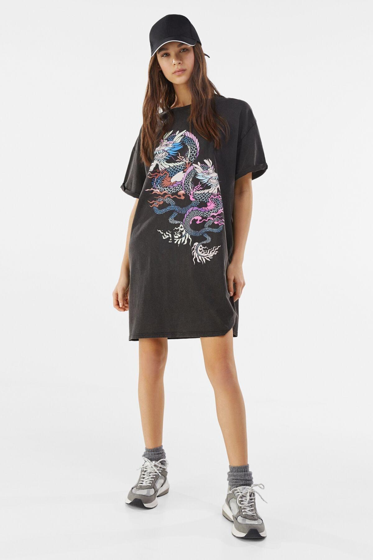 Bershka Kadın Gri Desenli Kısa Elbise 1
