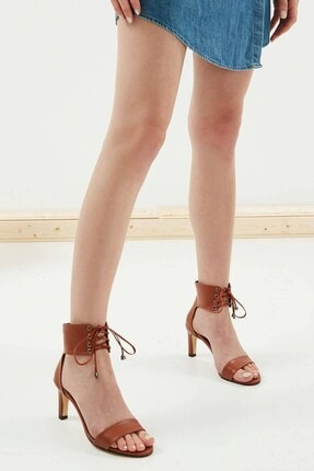Mio Gusto Harper Taba Bağcıklı Topuklu Ayakkabı