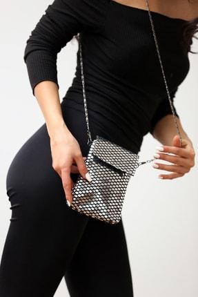 Pembe Potin Kadın Gümüş Askılı Çanta