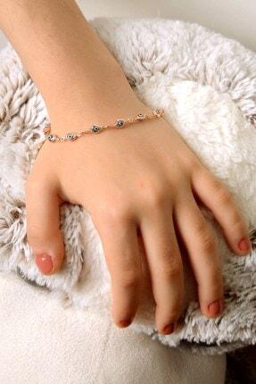 İn Dubai Silver Nazar Taşlı Rose Çocuk Gümüş Bileklik Dbsc4028