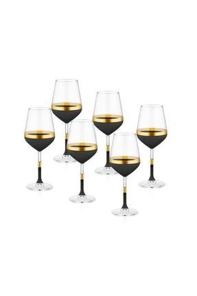 The Mia Siyah & Gold Glow Şarap Kadehi 6'lı Set