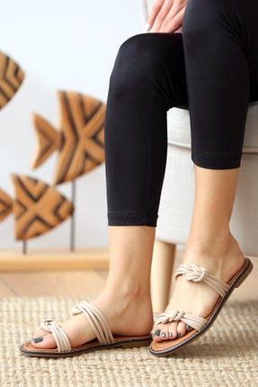Pembe Potin Bej Kadın Sandalet