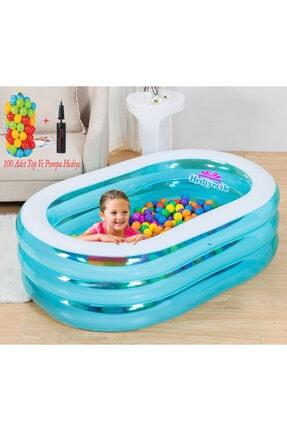 Vardem Şişme Oval Çocuk Oyun Havuzu 163x107x46 Cm Top Ve Pompa Hediye