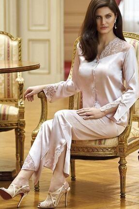 Nurteks Kadın Ekru Düğmeli Çeyizlik Pijama Takımı 5692