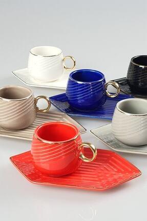 ACAR Renkli Porselen 6'lı Kahve Fincan Takımı 90 ml Kaı-011250