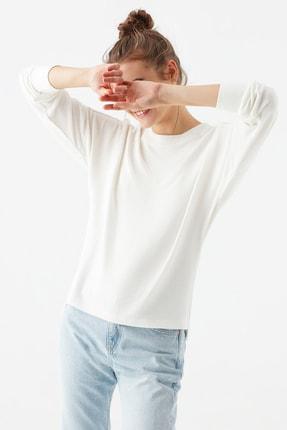 Mavi Uzun Kollu Beyaz Tişört 1600507-33389
