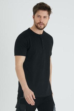 XHAN Siyah Düğmeli Likralı T-shirt 1kxe1-44643-02