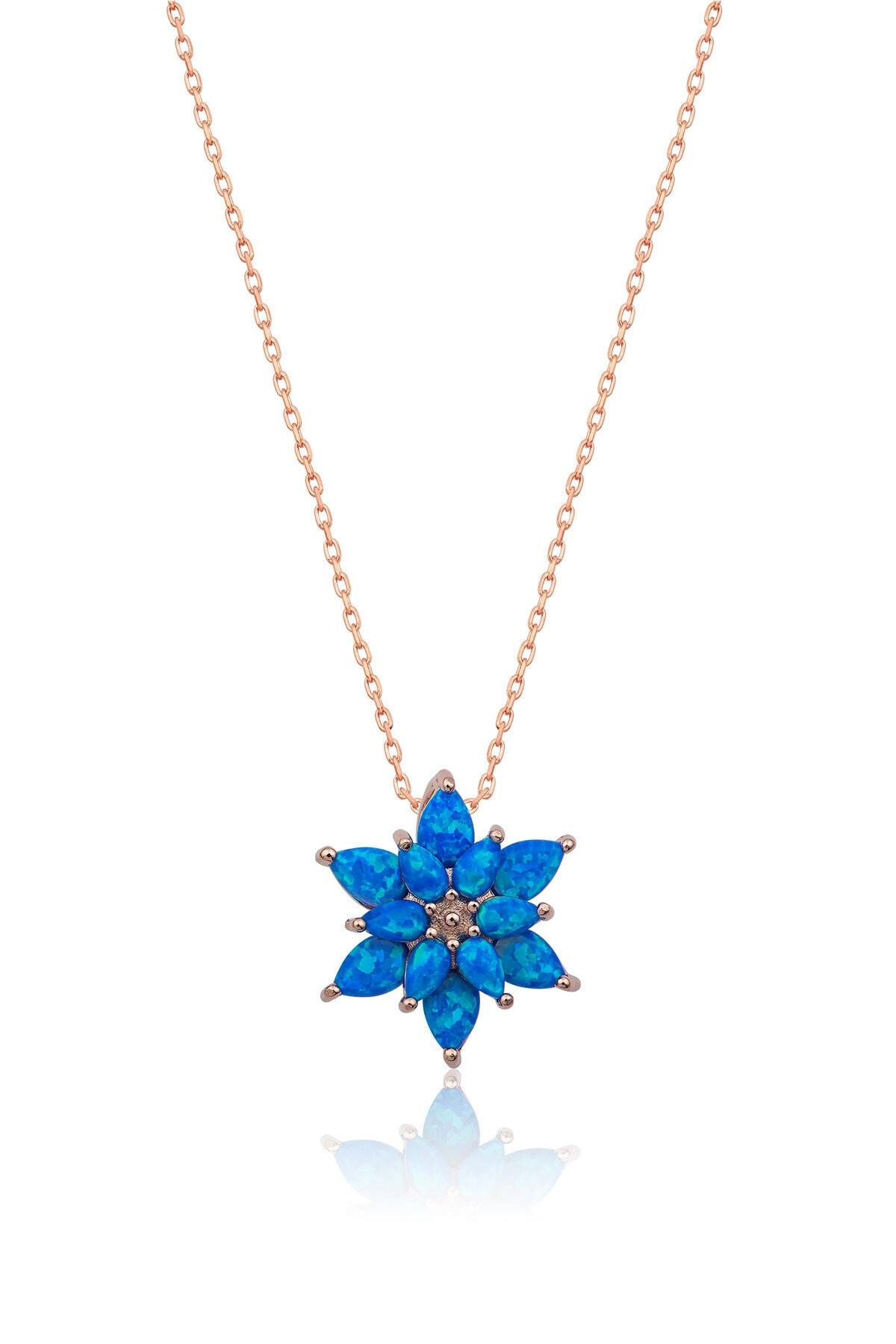 Papatya Silver 925 Ayar Mavi Opal Taşlı Gümüş Lotus Kolye 1