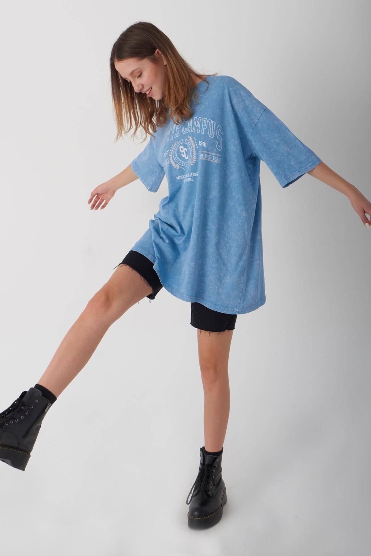 Addax Baskılı Oversize T-shirt P1049 - L5 1