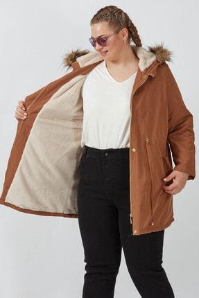 Büyük Moda Kadın Camel Kapüşonlu Mont