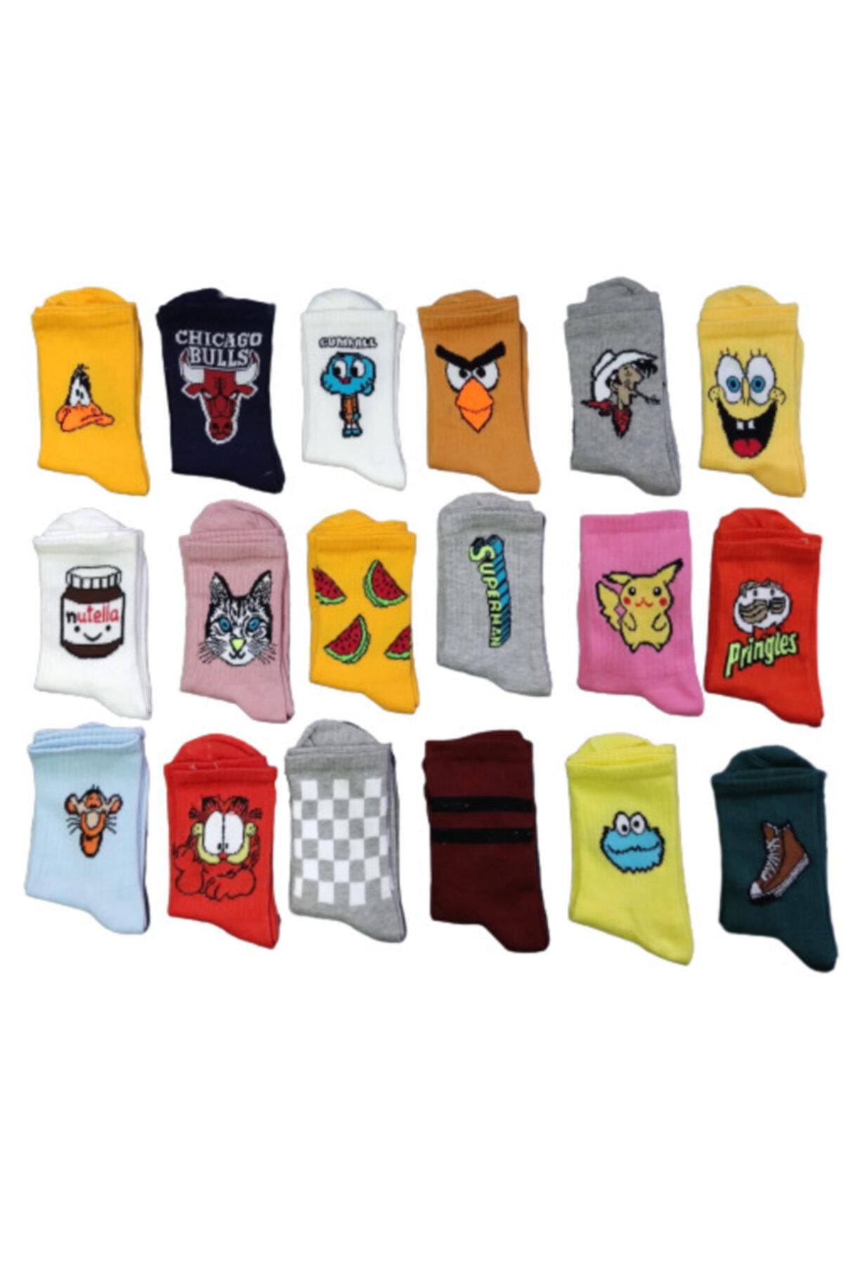 SOYTEMİZ ÇORAP Unisex Renkli Kolej 10 Adet Farklı Desen Renk Çorap 1