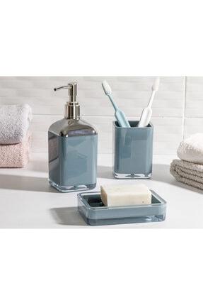English Home Elegance Kristal 3'lü Banyo Seti 17,5x6,5x6,5 Cm+9x6,5x6,5 Cm+1 Yeşil