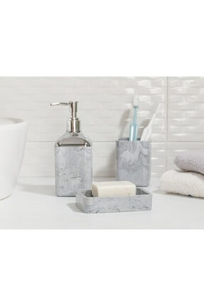 English Home Marble Kristal 3'lü Banyo Seti 17,5x6,5x6,5 Cm+9x6,5x6,5 Cm+1 Gri
