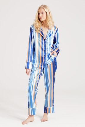 zau Z A U Saten Çizgili Pijama Takımı