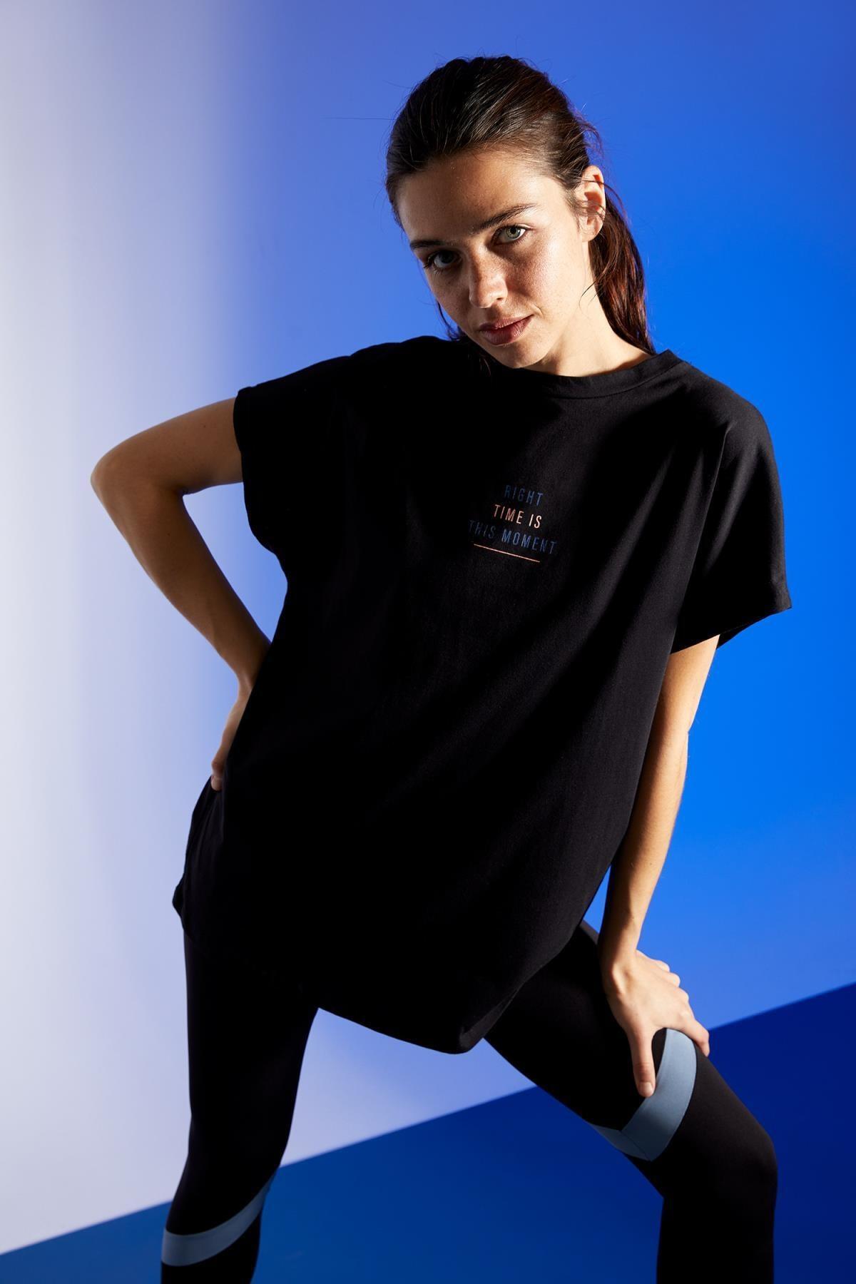 DeFacto Kadın Yazı Baskılı Oversize Kısa Kollu Tişört T6373AZ21SP