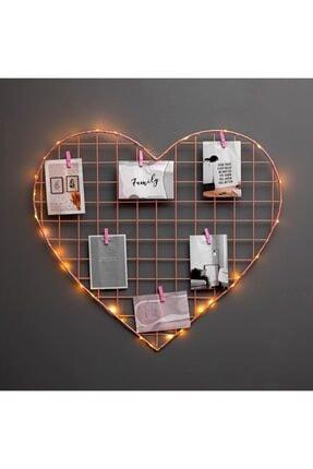 BY-LAMP Işıklı Mandallı Kalp Dekoratif Pembe Tel Pano