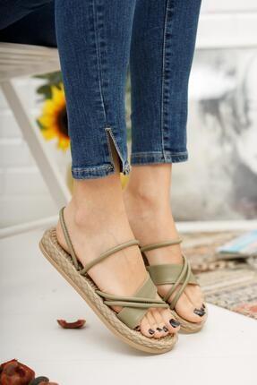 MUGGO Kadın Haki Düz Topuklu Sandalet