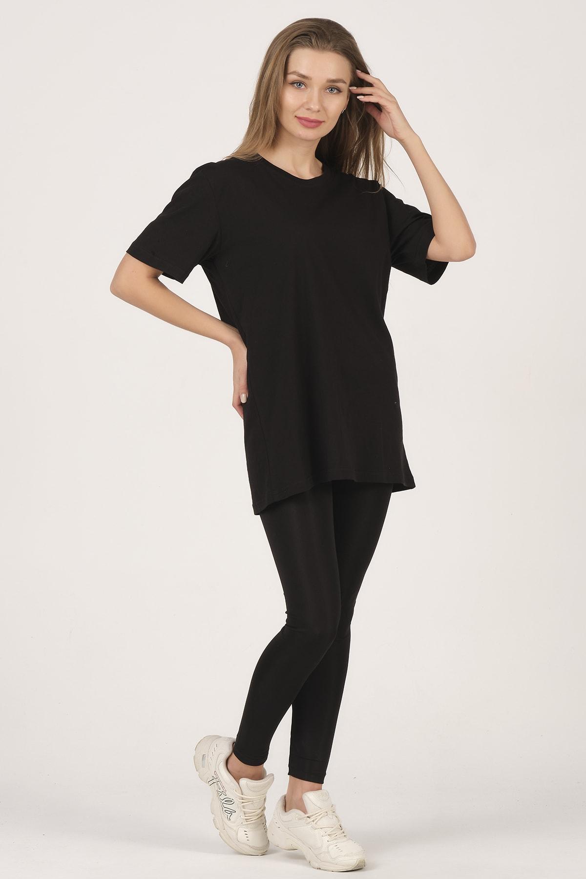 citadium Kadın Siyah Bisiklet Yaka Kısa Kollu Basic T-shirt %100 Pamuk 1