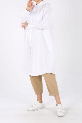 ALLDAY Beyaz Büyük Beden Düğmeli Gömlek Tunik
